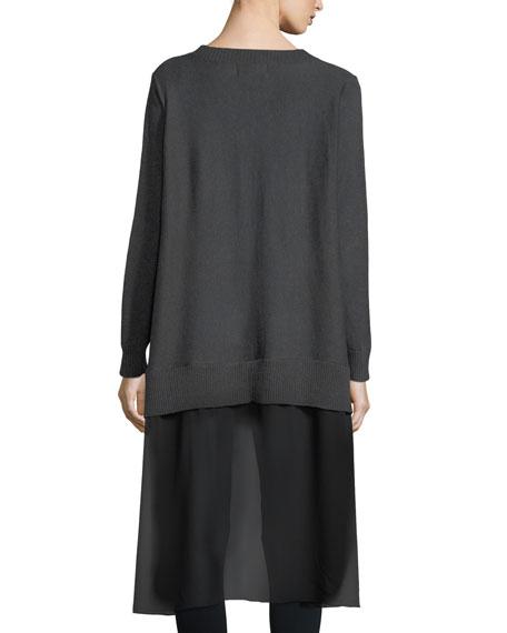 Chiffon-Back Tunic Sweater