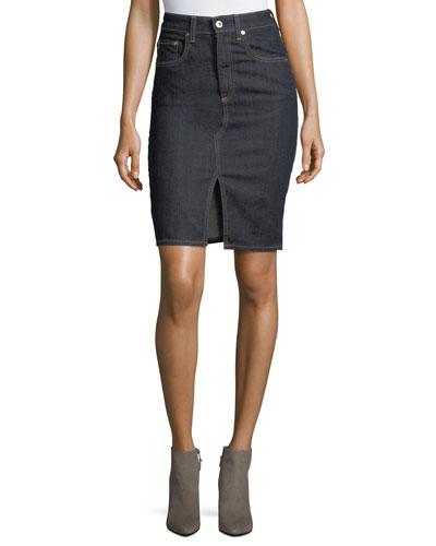 Emery High-Waist Pencil Denim Skirt