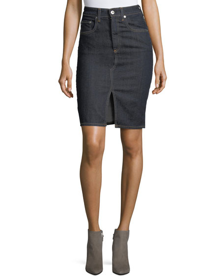 AG Emery High-Waist Pencil Denim Skirt