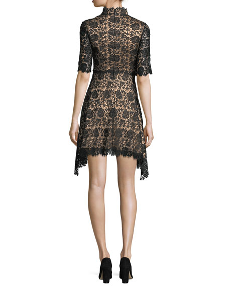 Jeanne High-Neck Lace Cocktail Dress