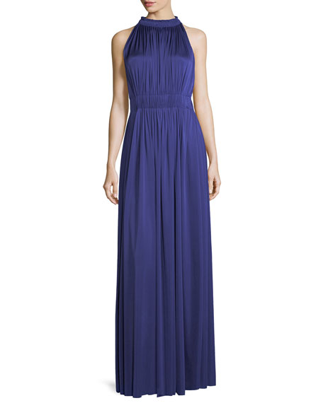 James Halter-Neck Sleeveless Pleated Evening Gown