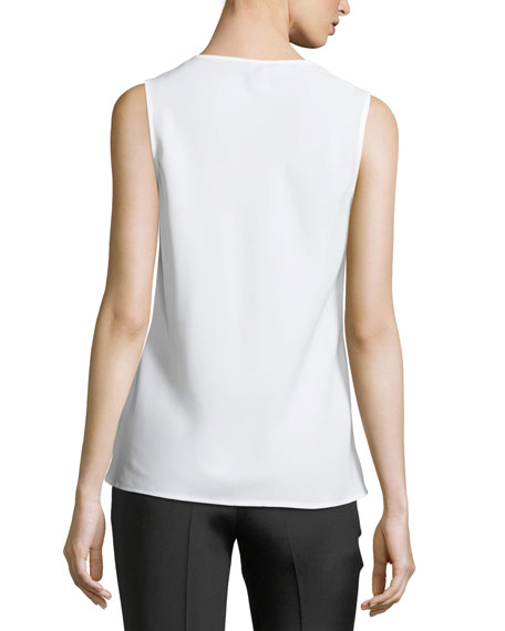 Batiste-Trim Sleeveless Top
