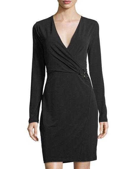 Faux-Wrap Knit Dress