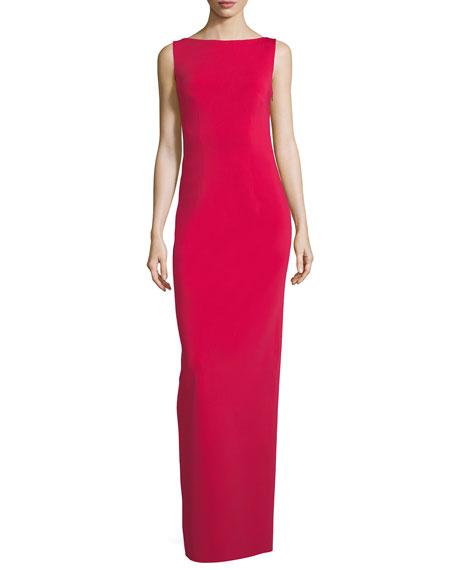 Ruffled-Back Sleeveless Column Evening Gown