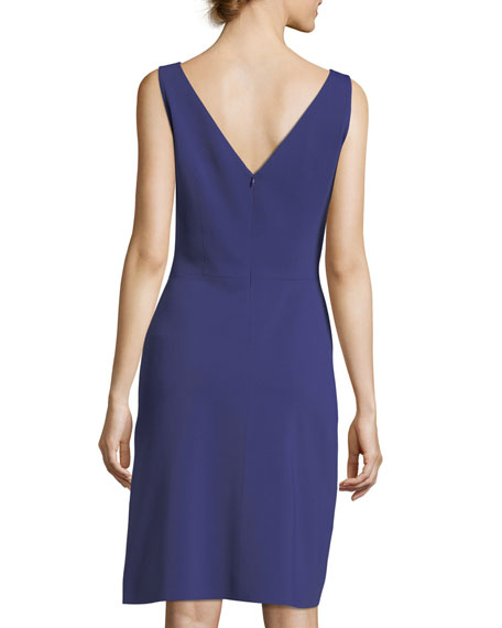 V-Back Sleeveless Sheath Cocktail Dress w/ Embroidery