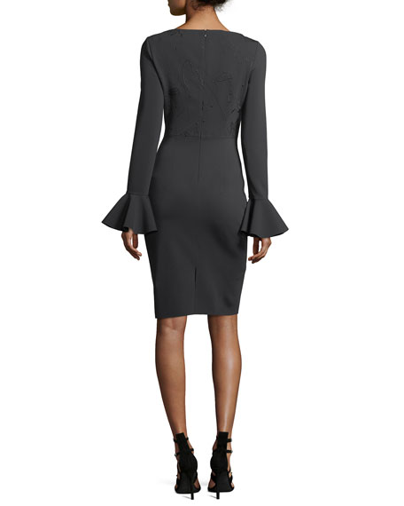 Boat-Neck Trumpet-Sleeve Sheath Cocktail Dress w/ Embroidery