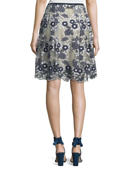 Nicole Floral Mesh A-Line Skirt