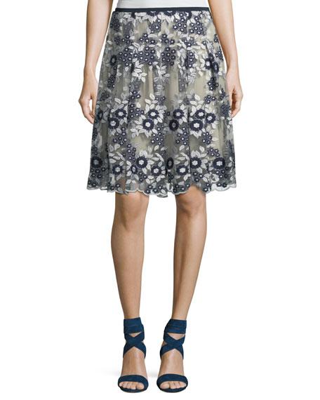 T Tahari Nicole Floral Mesh A-Line Skirt