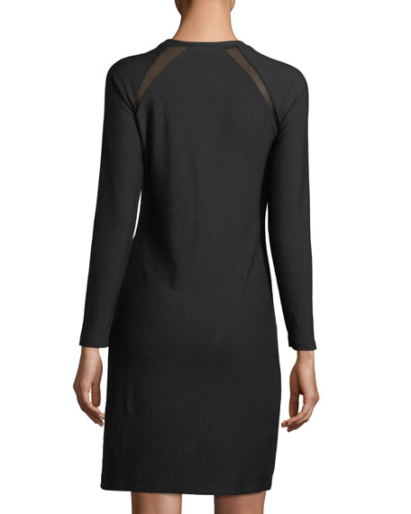 Leigh Mesh-Inset Knit Dress