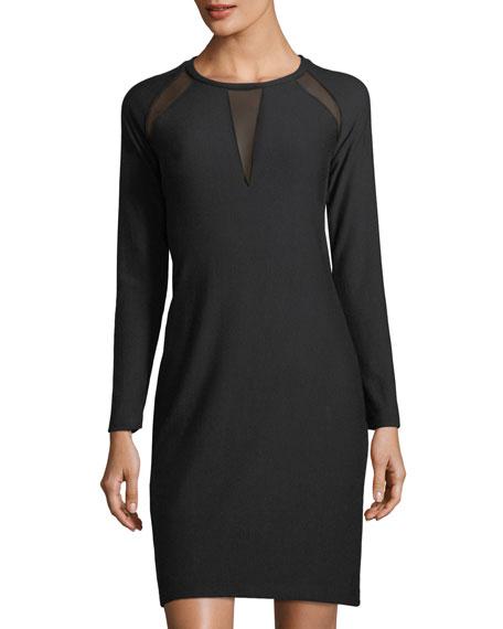T Tahari Leigh Mesh-Inset Knit Dress