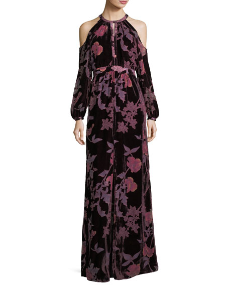Parker Black Casa Cold-Shoulder Floral Velvet Evening Dress