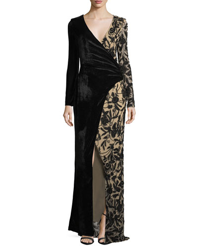 Stacey Velvet & Embellished Faux-Wrap Evening Gown