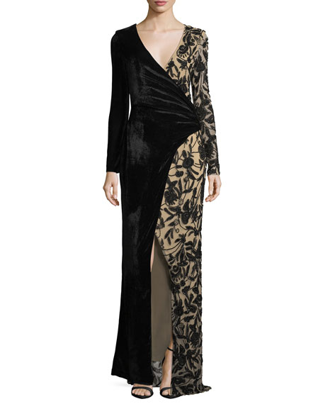 Parker Black Stacey Velvet & Embellished Faux-Wrap Evening