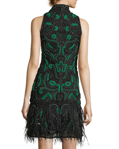 Marley Cocktail Dress w/ Ostrich Feather Hem