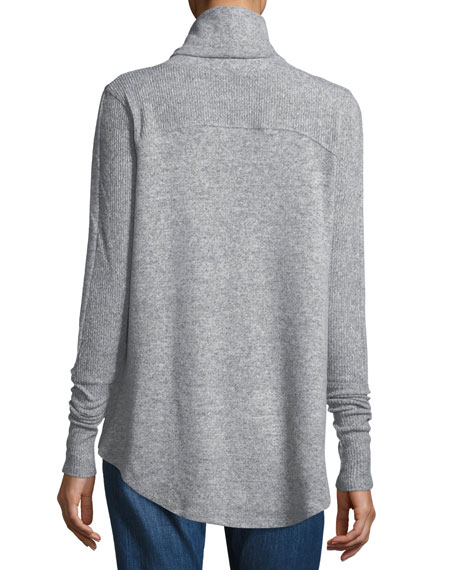 Cowl-Neck Brushed-Knit Sweater