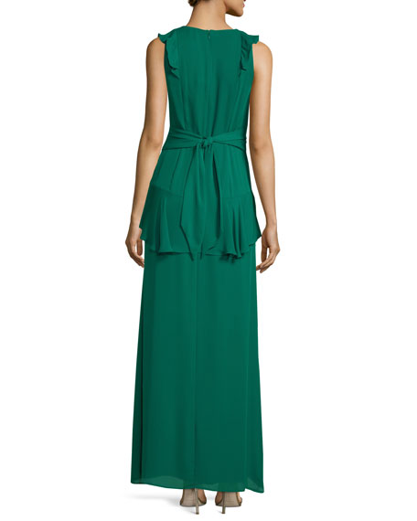 Rossie Deep-V Sleeveless Column Evening Gown w/ Ruffled Trim
