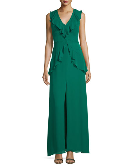 Rossie Deep-V Sleeveless Column Evening Gown w/ Ruffled Trim