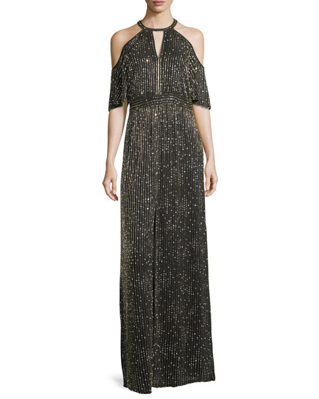 Amy Beaded Cold-Shoulder Evening Gown