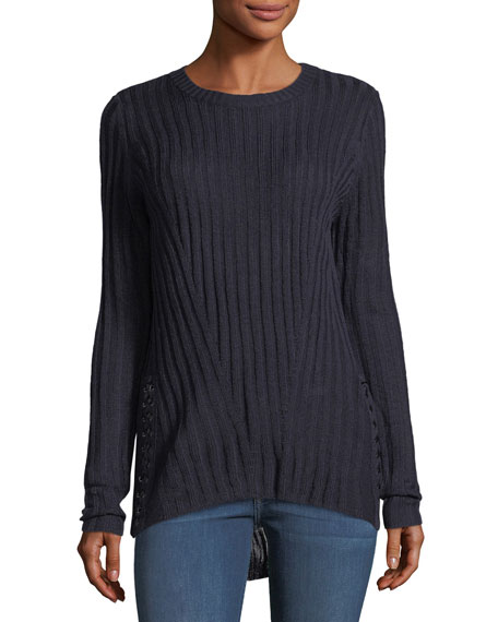 Ribbed-Knit Lace-Up Sweater