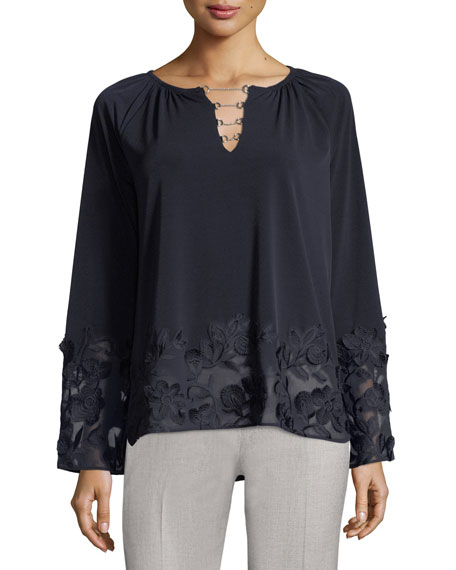 Laurie Neck-Chain Embellished Knit Top
