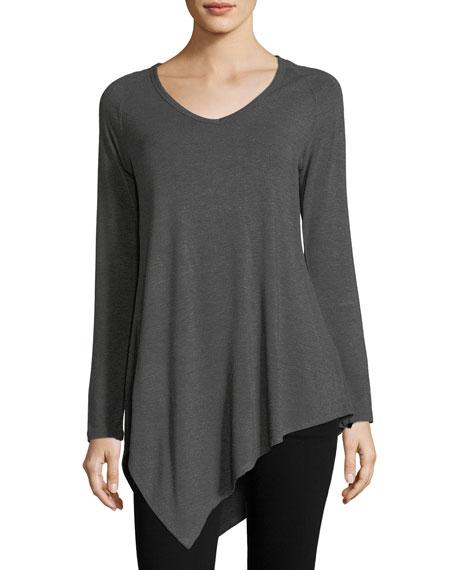 Joan Vass Long-Sleeve Jersey Top