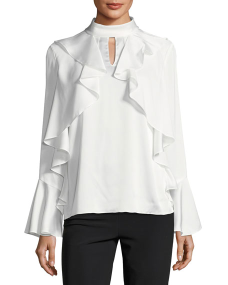 Ruffled Mock-Neck Charmeuse Blouse