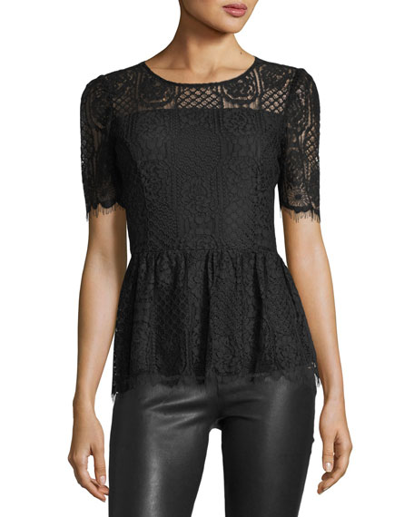 Lace Knit Peplum Blouse