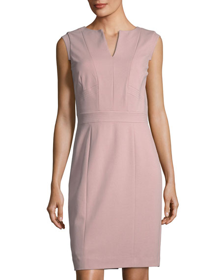 Tahari ASL Ponte V-Neck Sheath Dress