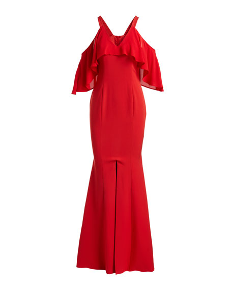 Naomi Cold-Shoulder Ruffled Trumpet Evening Gown