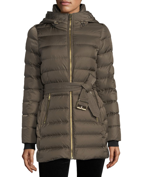 Burberry Limefield Hooded Belted Mid-Length Puffer Jacket