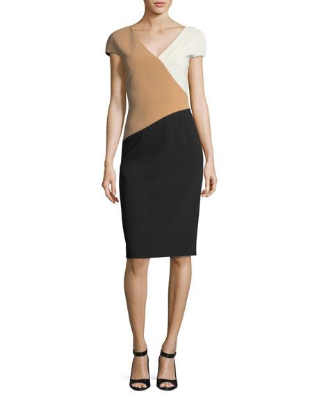 Cap-Sleeve Banded V-Neck Midi Dress