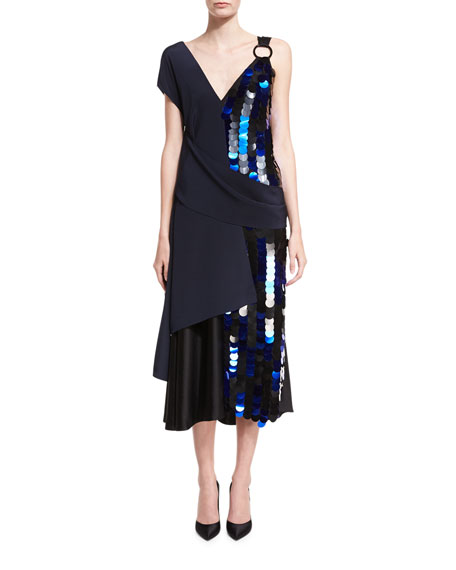 Diane von Furstenberg Asymmetric Draped Silk Midi Cocktail