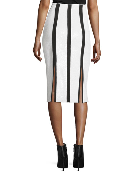 High-Waist Striped Fitted Sequined Pencil Skirt