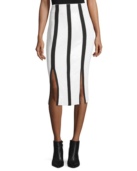 Diane von Furstenberg High-Waist Striped Fitted Sequined Pencil