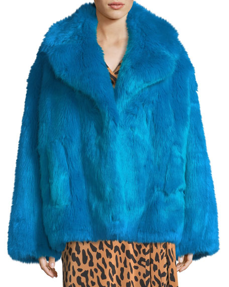 Diane von Furstenberg Faux-Fur Long-Sleeve Boxy Collared Jacket