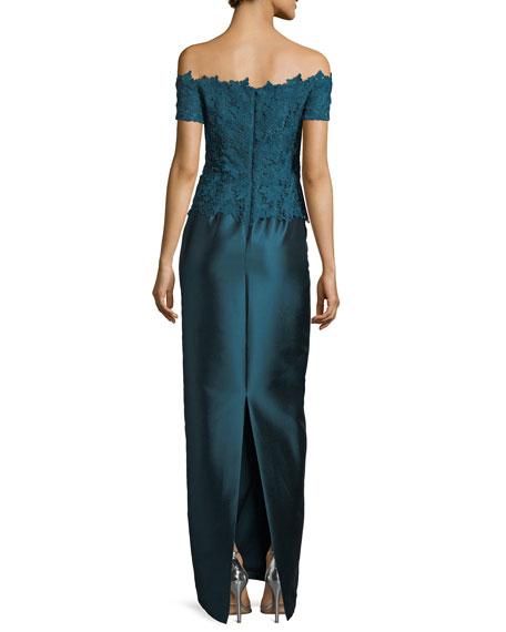 Gazar Lace Off-the-Shoulder Column Gown