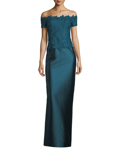 Gazar Lace Off-the-Shoulder Column Gown