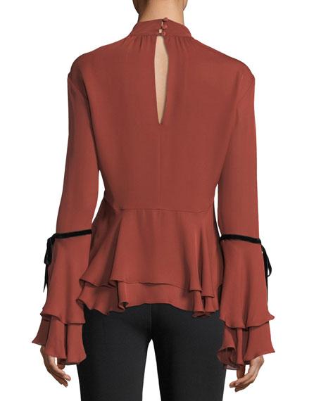Zanzie Mock-Neck Keyhole Long-Sleeve Silk Blouse