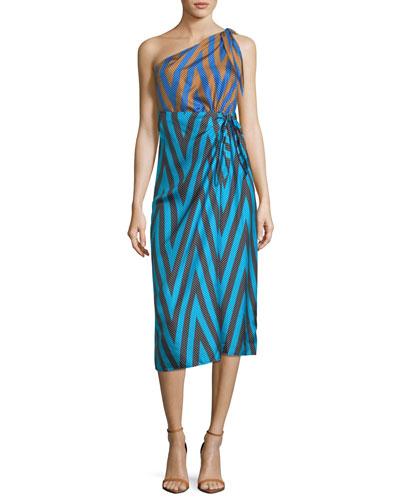 One-Shoulder Mix-Print Knot Scarf Dress