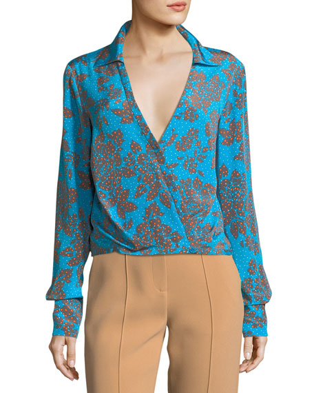 Long-Sleeve Collared Crossover Silk Blouse