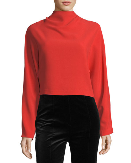 Diane von Furstenberg Long-Sleeve High-Neck Crepe Blouse