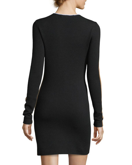 Long-Sleeve Crewneck Knit Colorblocked Mini Dress