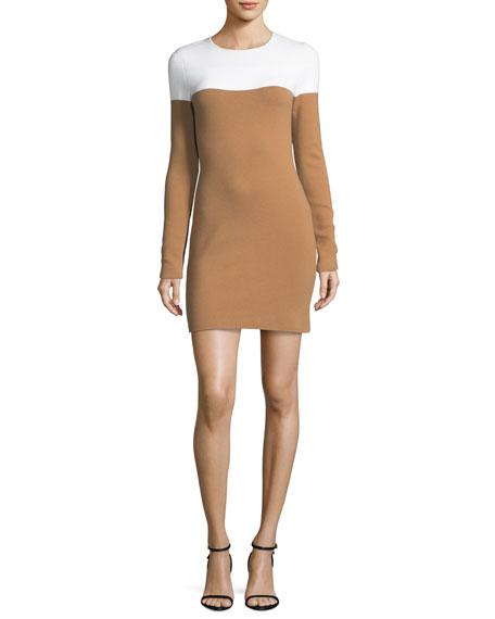 Diane von Furstenberg Long-Sleeve Crewneck Knit Colorblocked Mini