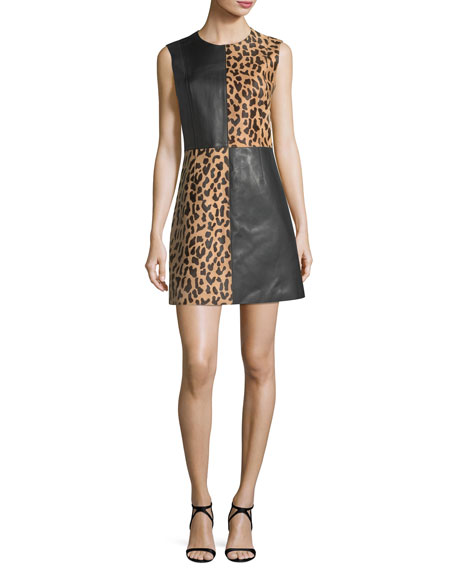 Diane von Furstenberg Paneled Sleeveless Crewneck Leopard-Print