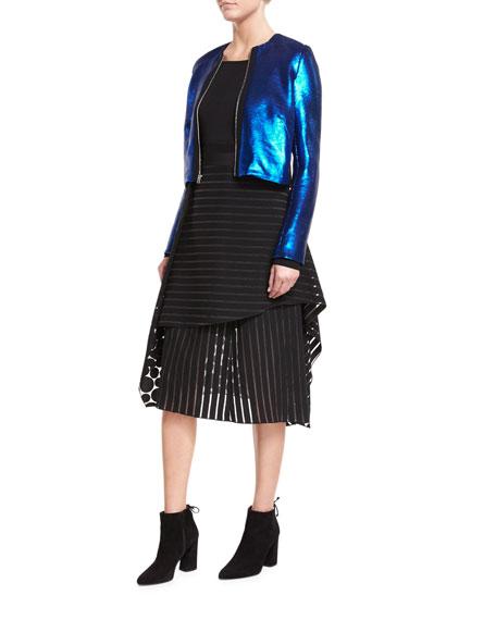Front Ruffle Circles & Stripes Layered Midi Skirt