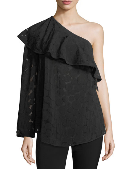 Diane von Furstenberg One-Shoulder Ruffle Circle Semisheer Top