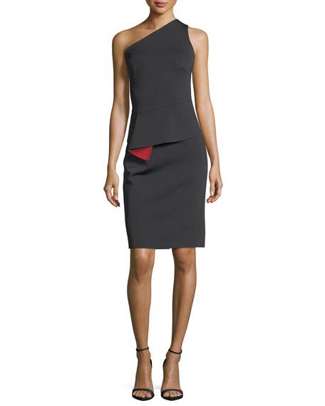 One-Shoulder Peplum-Waist Sheath Cocktail Dress