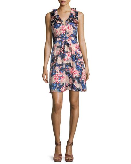 Saloni Lara Floral-Print Sleeveless Dress