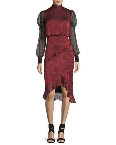 Lily Mock-Neck Printed Chiffon Dress w/ Sheer Sleeves