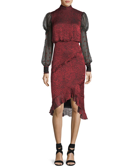 Saloni Lily Mock-Neck Printed Chiffon Dress w/ Sheer